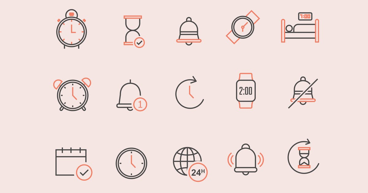 Download 15 Time Alarm Notification Icons by creativevip