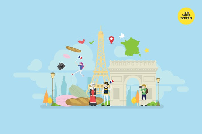 Thumbnail for Welcome To Paris Vector Illustration Concept