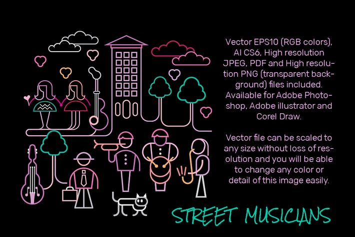 Thumbnail for Street Musicians vector illustration