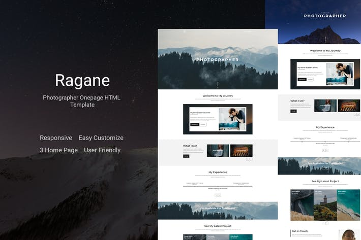 Ragane - Photographer Onepage HTML Template