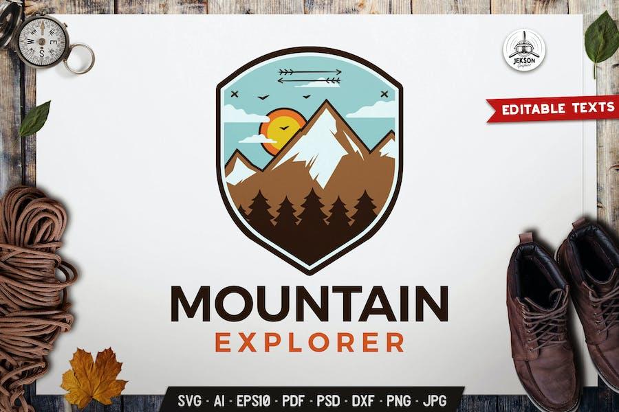 Mountain Explorer Emblem Logo SVG. Travel Badge