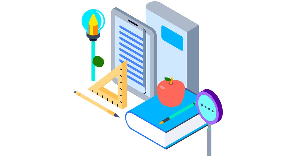 Download Study and Learning Isometric Illustration by angelbi88