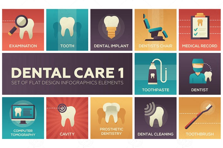 Thumbnail for Dental care - flat design infographics elements