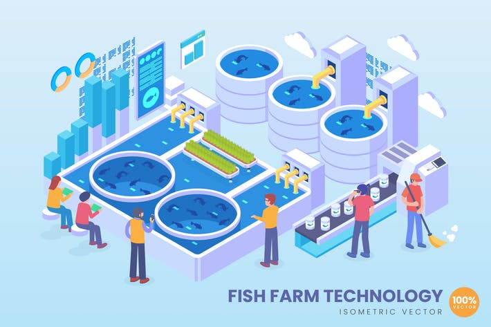 Thumbnail for Isometric Fish Farm Technology Vector Concept