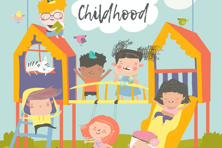 Thumbnail for Children playing at playgroung. Vector