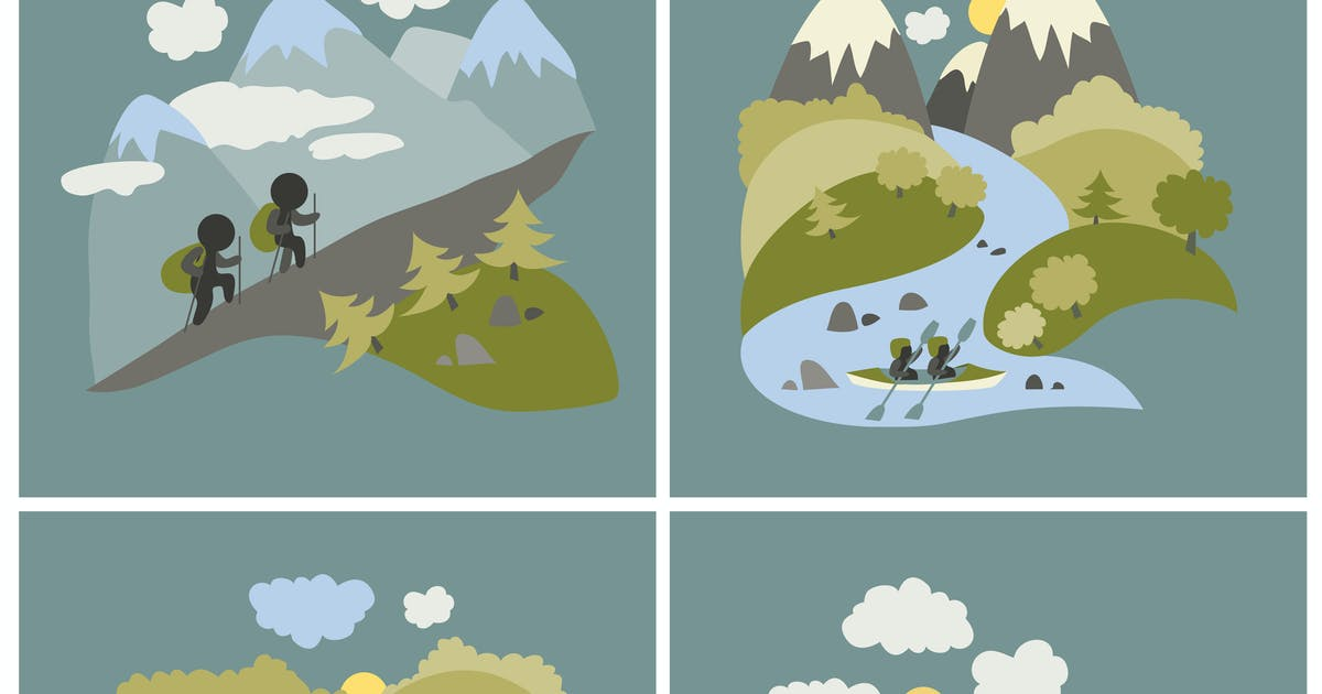 Download Set of vector lat style outdoor leisure pictures. by masastarus