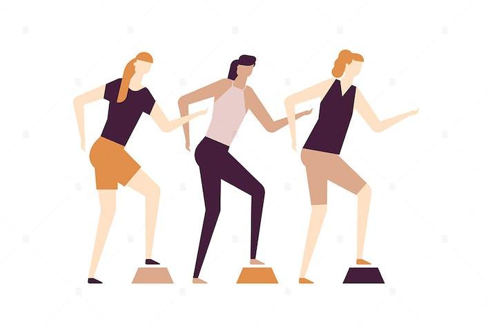 Thumbnail for Girls doing fitness - flat design illustration