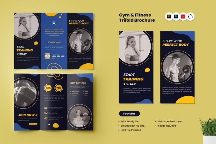 Gym & Fitness Trifold Brochure
