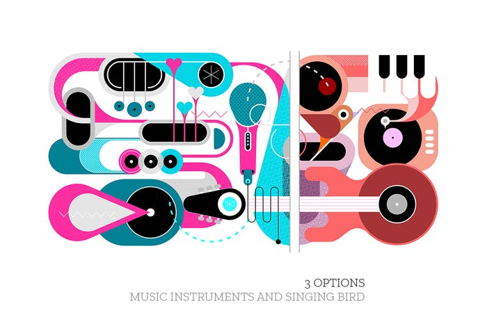 Thumbnail for 3 Music Instruments & Singing Bird vector artworks