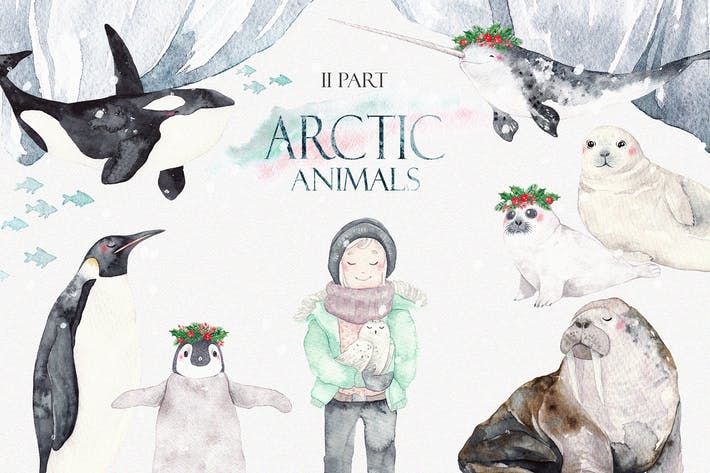 Thumbnail for ARCTIC ANIMALS watercolor set PART 2
