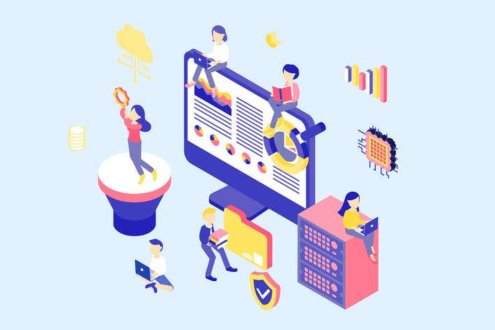 Thumbnail for Data Analysis Isometric Illustration