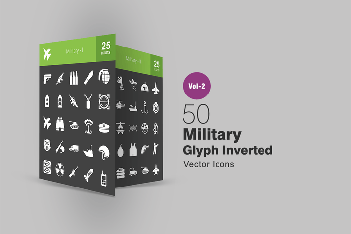 Thumbnail for 50 Military Glyph Inverted Icons