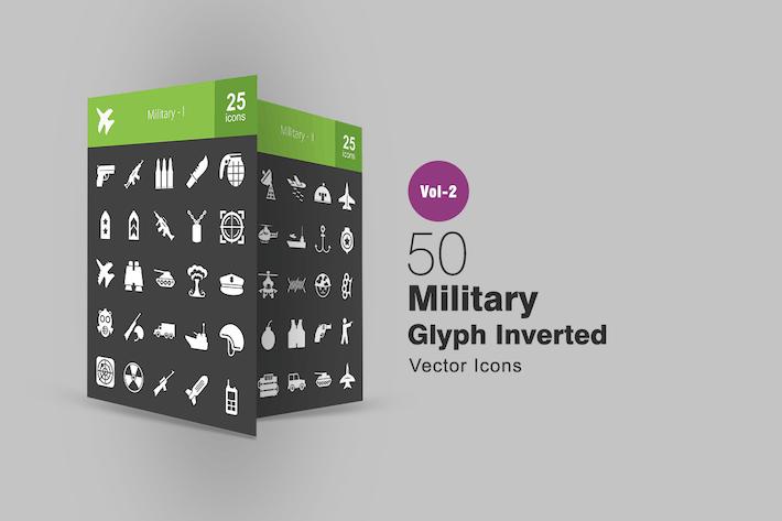 50 Militärglyphe Inverted Icons