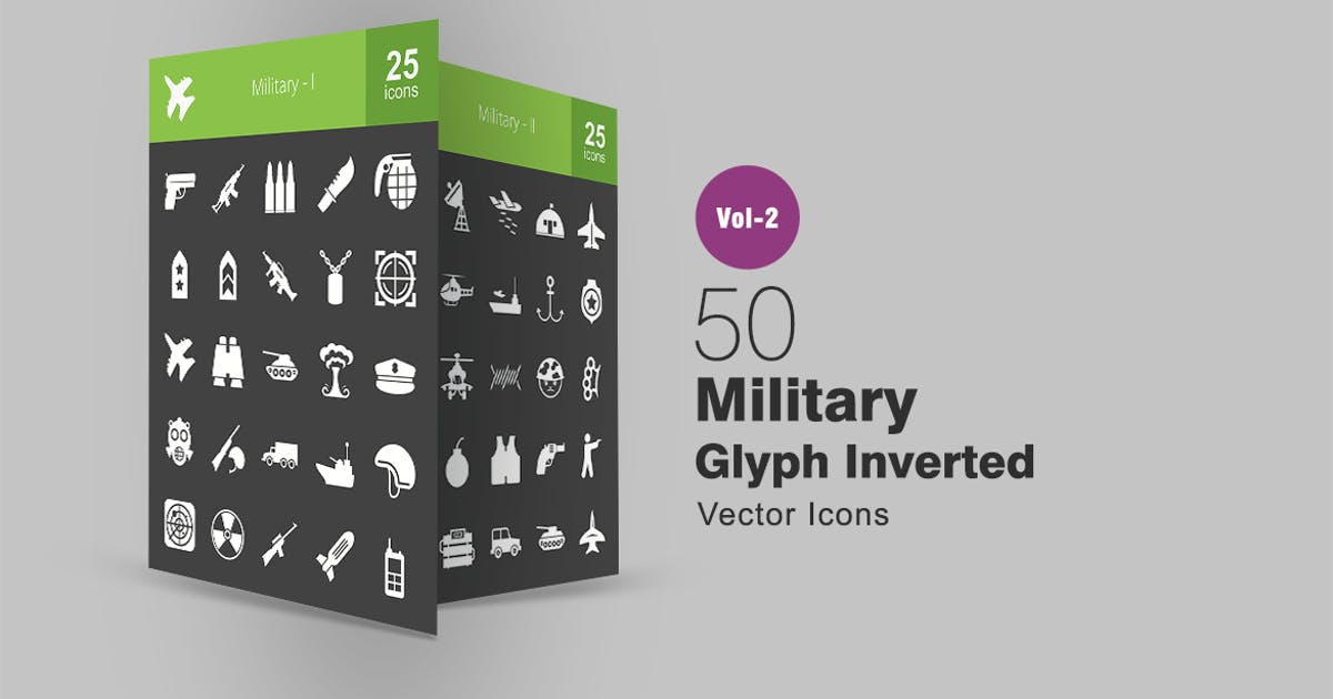 Download 50 Military Glyph Inverted Icons by IconBunny