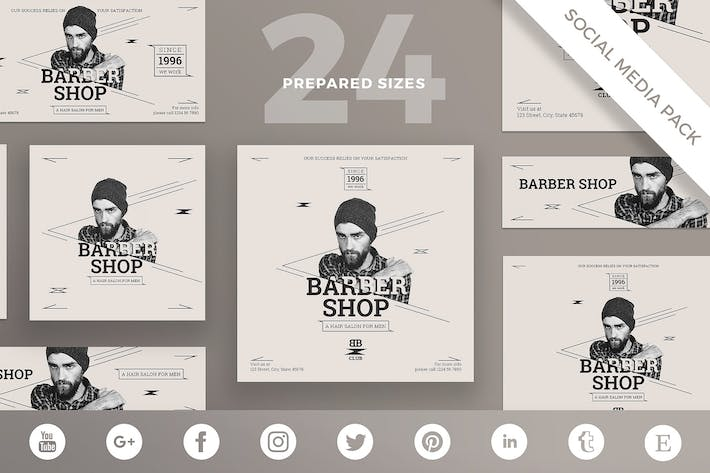 Thumbnail for Barbershop Services Social Media Pack Template