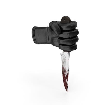 Handschuh hält ein blutiges Messer