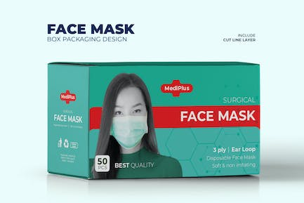 Green Face Mask Box Packaging Templete