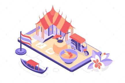 Travel to Thailand - Isometric Illustration