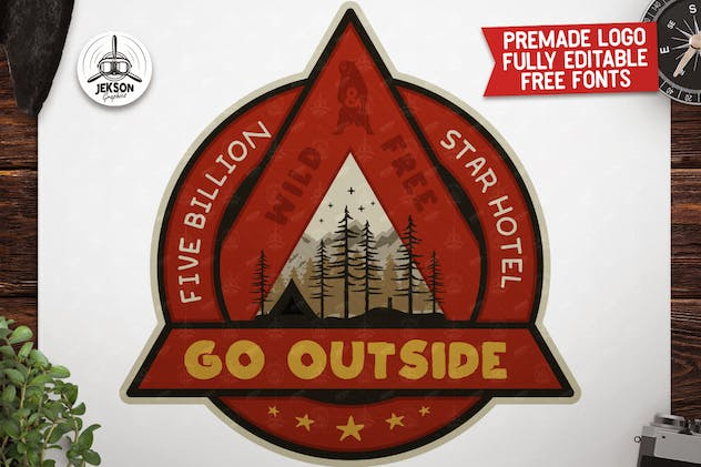 Outdoor Adventure Badge / Vintage Camp Logo Patch - product preview 4