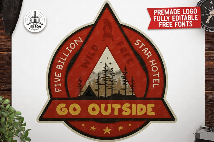 Thumbnail for Outdoor Adventure Badge / Vintage Camp Logo Patch