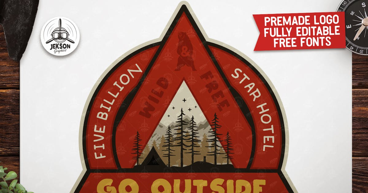 Download Outdoor Adventure Badge / Vintage Camp Logo Patch by JeksonJS