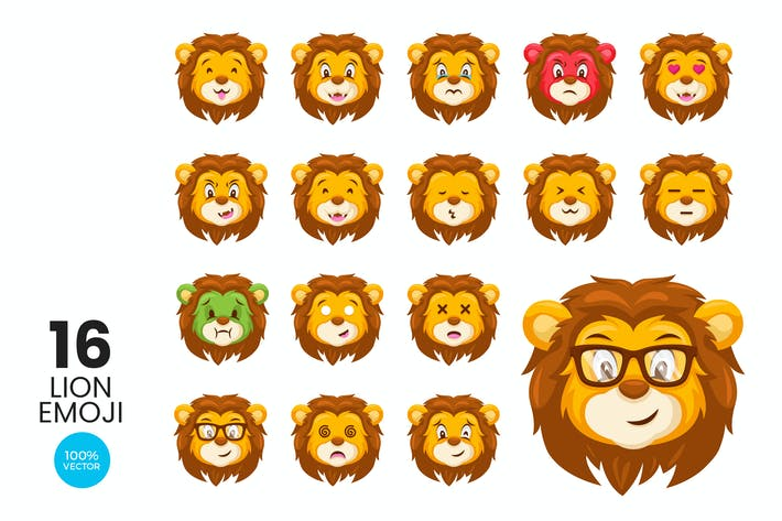 Cover Image For 16 Cute Lion Avatar Emoji Vector Character Set