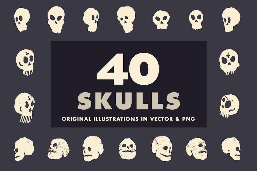 40 illustrierte Schädel - Vektor & PNG