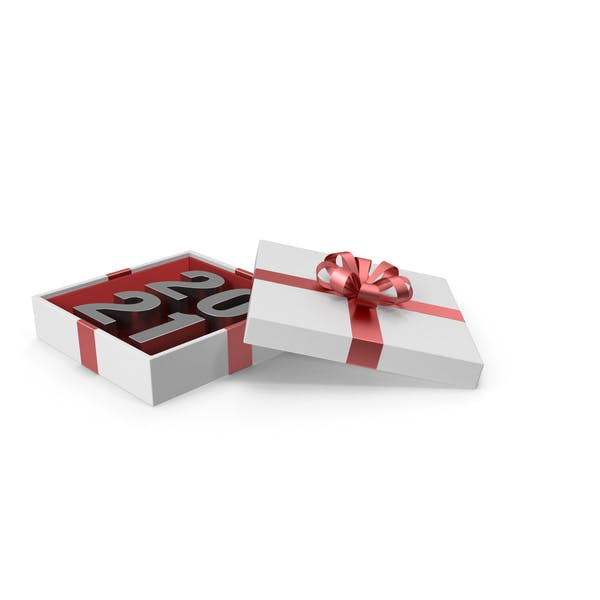 Silver Symbol 2021 in White Gift Box with Red Ribbon