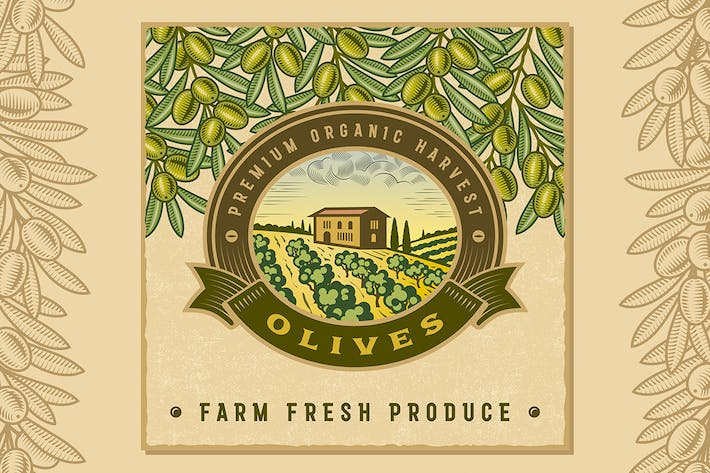 Thumbnail for Vintage Colorful Olive Harvest Label