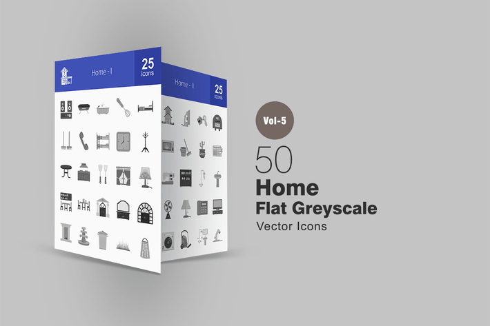 Thumbnail for 50 Home Greyscale Icons