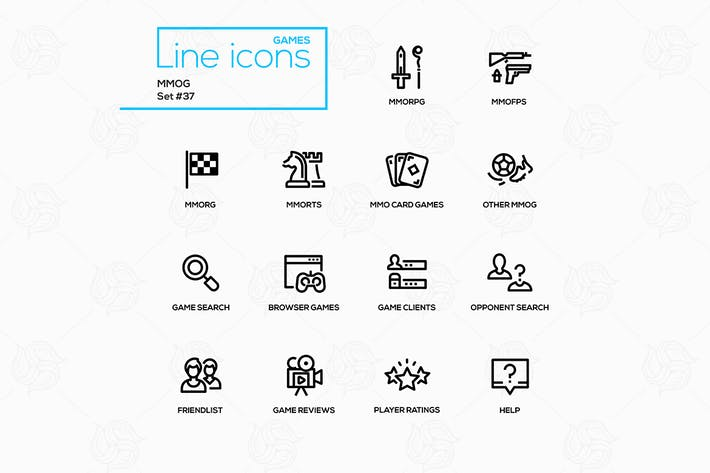 Thumbnail for MMOG - modern vector single line icons set