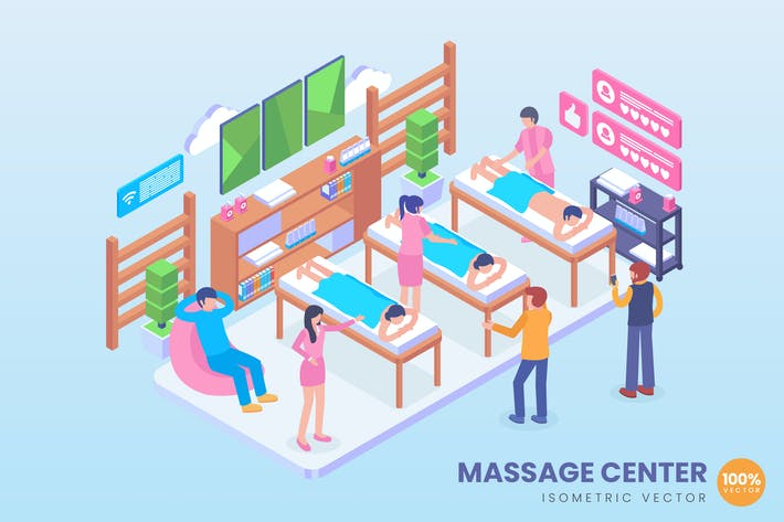 Thumbnail for Isometric Massage Center Vector Concept