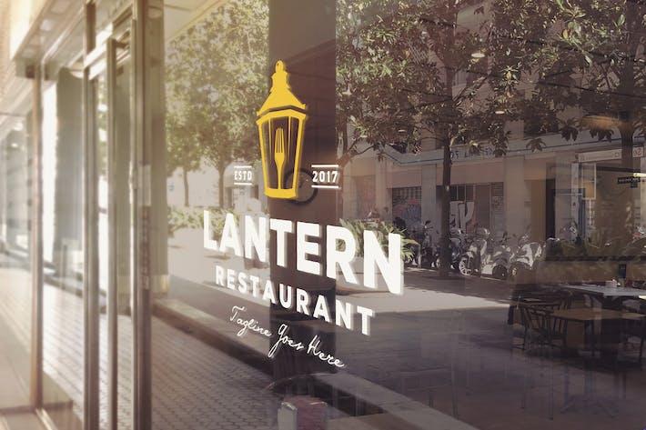 Thumbnail for Restaurant Entrance Logo Glass Mockup