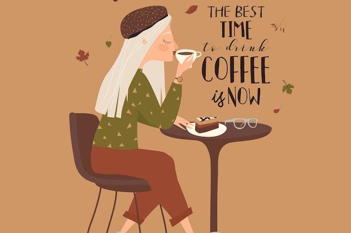 Мультфильм красивая девушка пьет кофе в кафе.