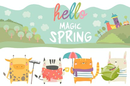 Vector set of cute animals with spring theme