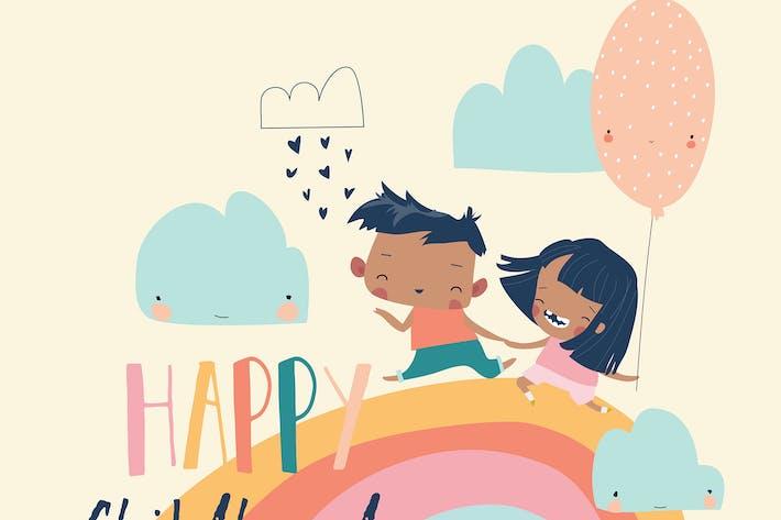 Thumbnail for Glückliche Kinder laufen auf Regenbogen mit Ballon, Ve
