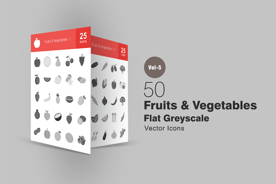 50 Fruits & Vegetables Greyscale Icons