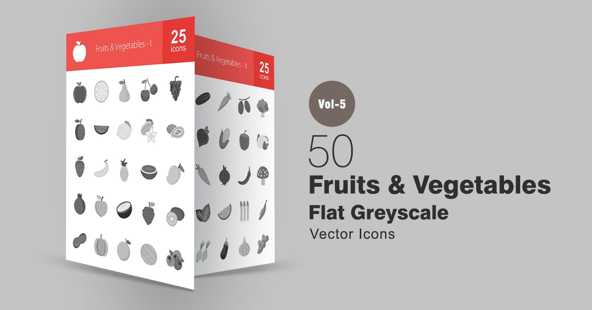 50 Fruits & Vegetables Greyscale Icons by IconBunny
