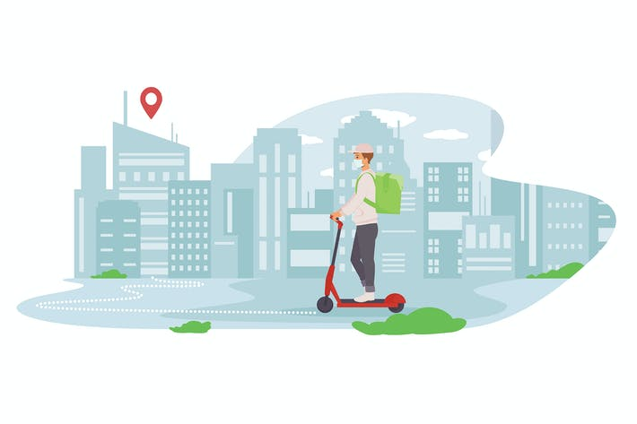 Thumbnail for A scooter courier carries a parcel around the city