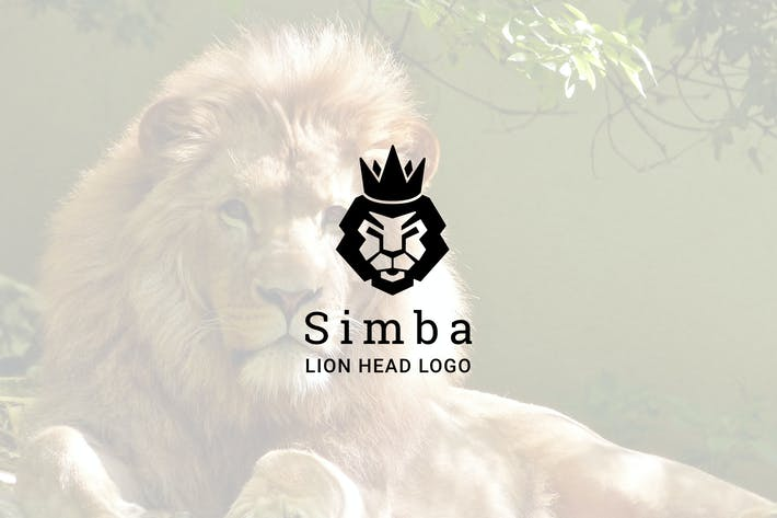Cover Image For Simba : Negative Space Lion Head Logo