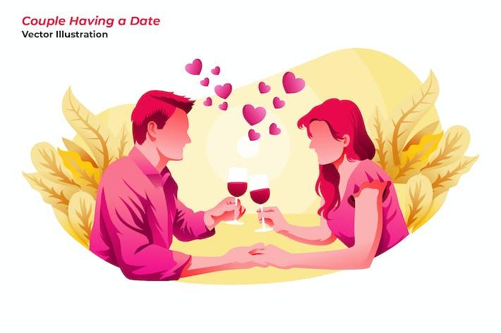 Thumbnail for Couple Having Date - Vector Illustration