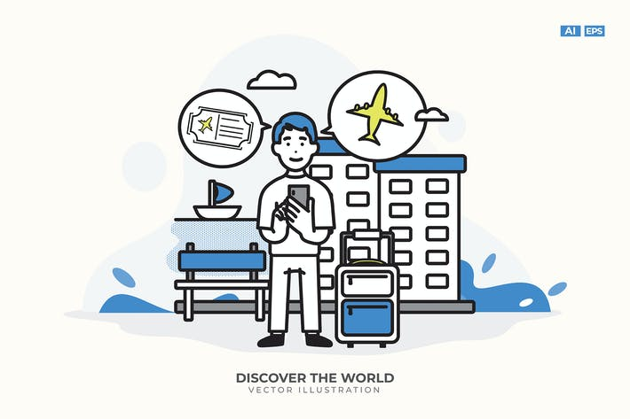 Thumbnail for Discover The World Vector Illustration