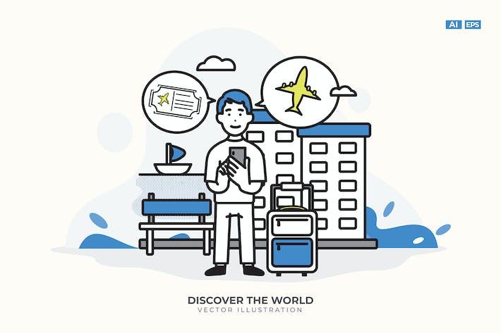 Thumbnail for Entdecken Sie die Welt Vektor Illustration