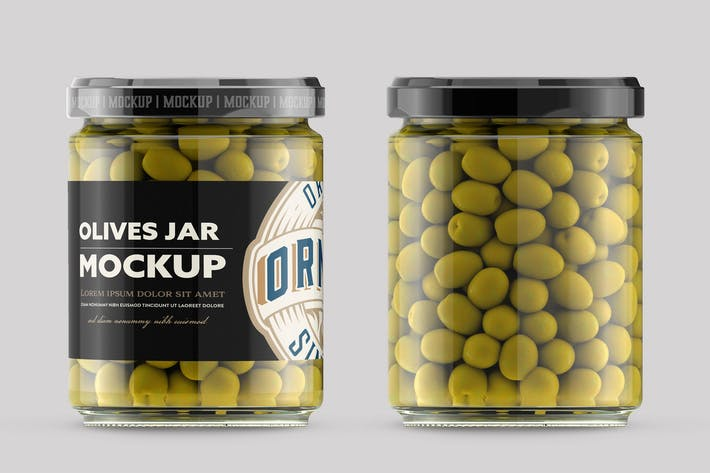 Thumbnail for Clear Glass Jar with Olives Mockup