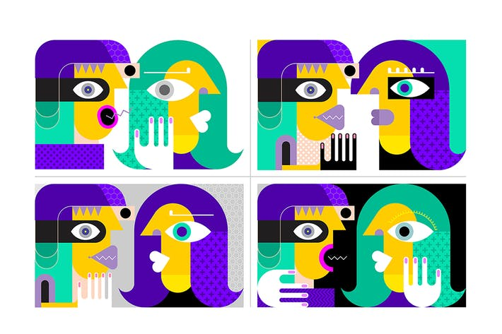 Thumbnail for 4 options of People Talking vector illustration
