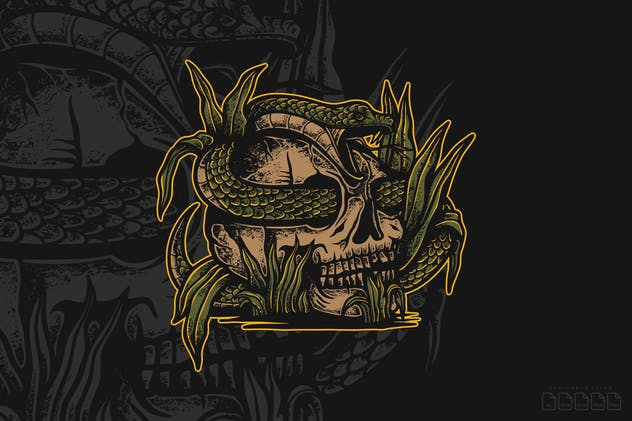 Hand Drawn Skull Snake Illustration