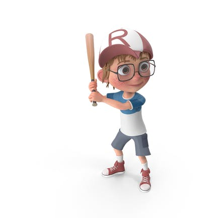 Cartoon Junge Harry spielt Baseball