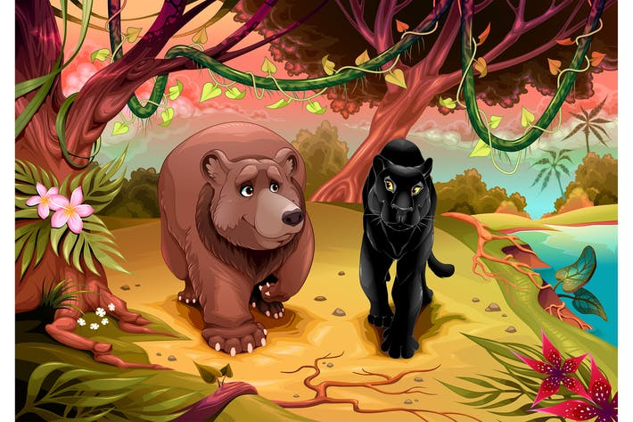 Thumbnail for Bear and Black Panther Together in the Forest