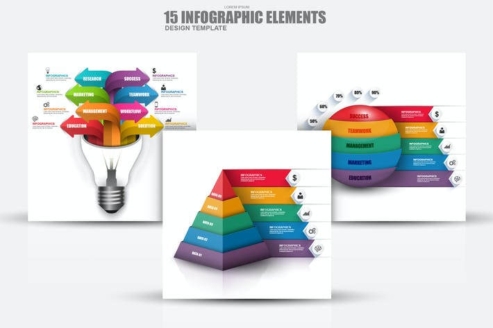 Cover Image For Abstract 3D Business Infographic Elements