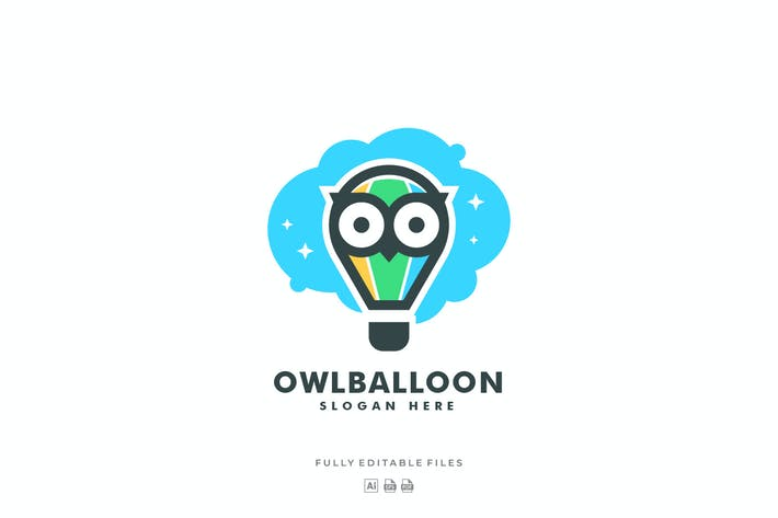 Thumbnail for Simple Owl and Balloon Color Logo